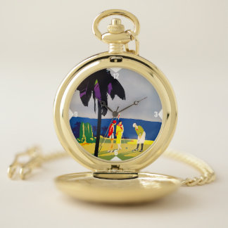 Vintage Golfer's Gold Pocket Watch ポケットウォッチ