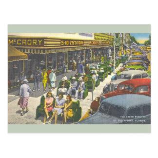 Vintage Green Benches St. Petersburg Postcard ポストカード