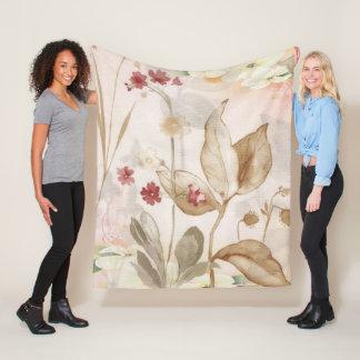 Vintage Hand Painted Flower Fleece Blanket Medium フリースブランケット