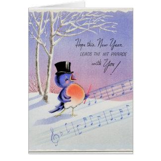 Vintage Happy New Year Bird カード