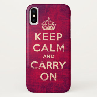 Vintage keep calm and carry on iPhone x ケース