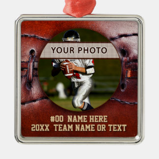 Vintage look Football Ornaments, Your Photo, Text メタルオーナメント