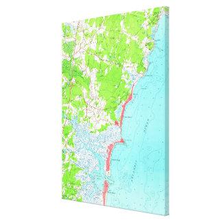 Vintage Map of Hampton Beach New Hampshire (1957) キャンバスプリント