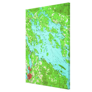 Vintage Map of Lake Winnipesaukee (1956) キャンバスプリント