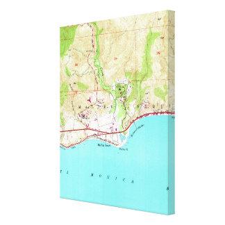 Vintage Map of Malibu California (1950) キャンバスプリント