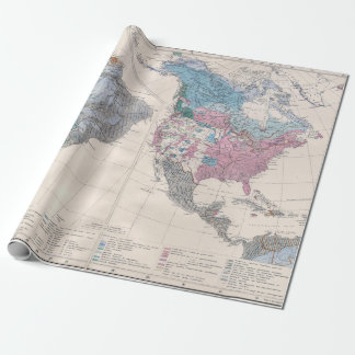Vintage Map of North and South America 1880 ラッピングペーパー