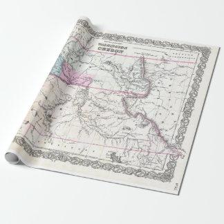 Vintage Map of Washington, Oregon and Idaho (1855) ラッピングペーパー