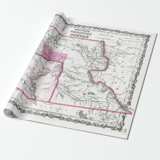 Vintage Map of Washington, Oregon and Idaho (1862) ラッピングペーパー