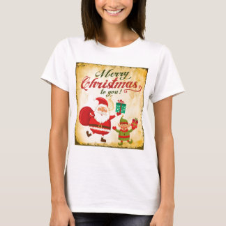Vintage Merry Christmas Daning Santa and Elf Tシャツ