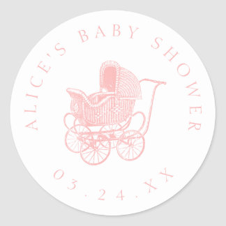 Vintage Pink Baby Carriage Baby Shower ラウンドシール