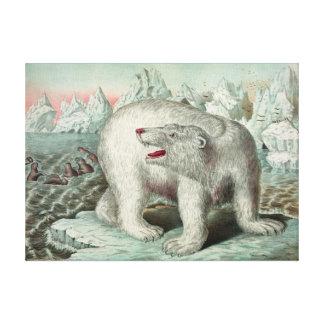 "Vintage Polar Bear On Iceberg Illustration 18X13"" キャンバスプリント"