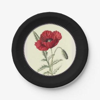 Vintage-Poppy-Art_Gem-Inner-Circle--スタイリッシュ黒い ペーパープレート