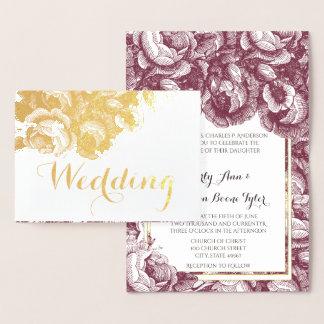 Vintage Purple Rose Gold Foil Wedding Invitations 箔カード