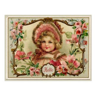 Vintage Reproduction Postcard小さい女性 ポストカード