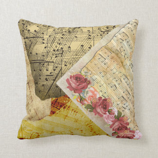 Vintage Roses and Musical Notes Sheet Music Pillow クッション