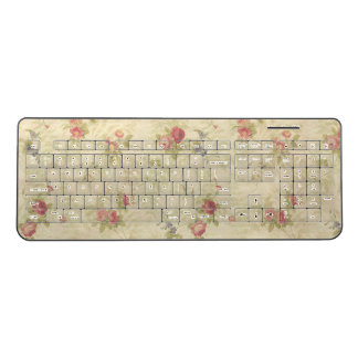 Vintage Roses old distressed fabric pattern ワイヤレスキーボード