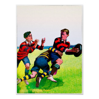 Vintage Rugby Watercolor Print ポスター