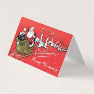Vintage Santa Claus on his Sleigh with Reindeer カード