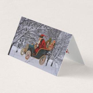 Vintage Santa Driving in a Modern Snow Scene Cards カード