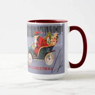 Vintage Santa Driving in a Modern Snow Scene Mug マグカップ