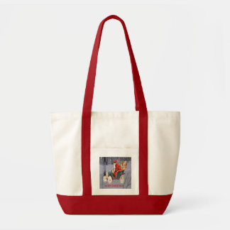 Vintage Santa Driving in a Modern Snow Scene Tote トートバッグ