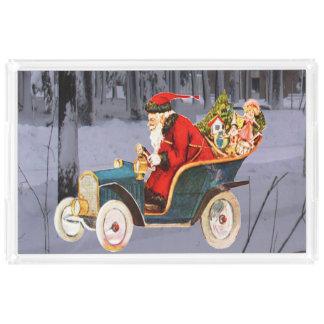 Vintage Santa Driving in a Modern Snow Scene Tray アクリルトレー