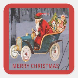 Vintage Santa Driving, Modern Snow Scene Sticker スクエアシール