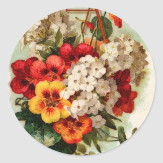 Vintage Seed Catalog Flowers Sticker ラウンドシール