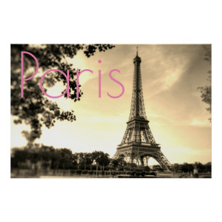 Vintage Sepia Eiffel Tower Paris Love City ポスター