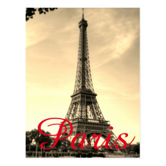 Vintage Sepia Eiffel Tower Paris Love City Travel ポストカード