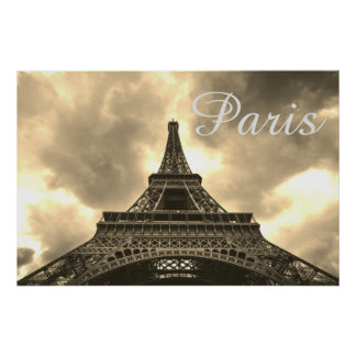 Vintage Sepia Eiffel Tower Paris Romantic Love ポスター