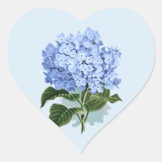 Vintage Sky Blue Hydrangea Flower Sticker ハートシール