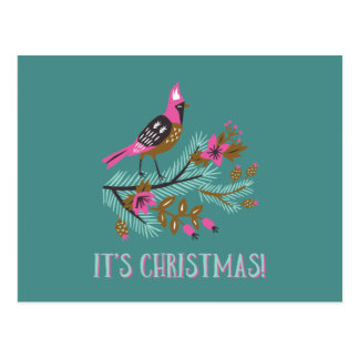 Vintage Style Bird Christmas Postcard ポストカード