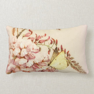 Vintage Style Butterfly Flowers Pillow ランバークッション