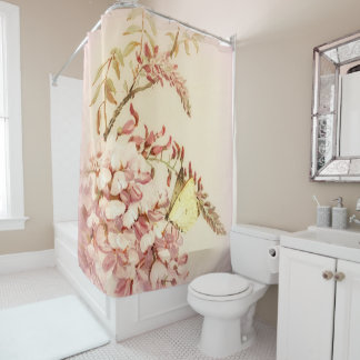 Vintage Style Butterfly Flowers Shower Curtain シャワーカーテン