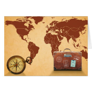 Vintage Style, Map of World Print カード