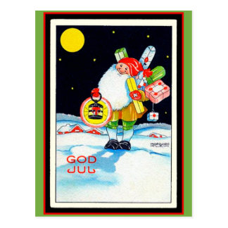 Vintage Swedish Christmas Image God Jul Gnome ポストカード