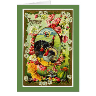 Vintage Turkey Thanksgiving Greetings カード