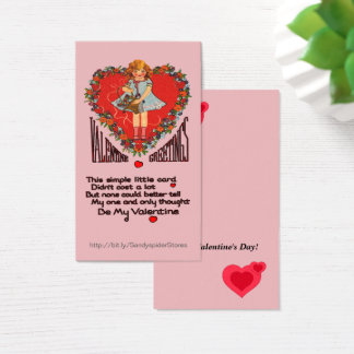 Vintage Valentines Heart Wreath & Girl Vert Cards 名刺