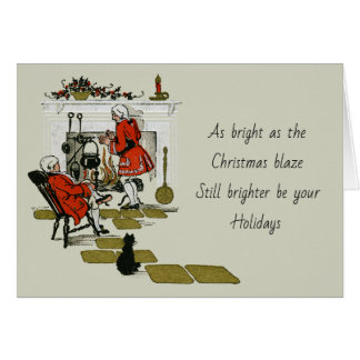 Vintage Victorian Christmas Fireplace Old Holiday カード