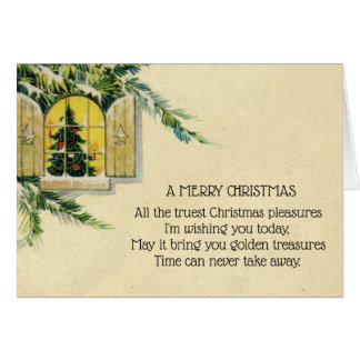 Vintage Victorian Christmas Tree Holiday Window カード
