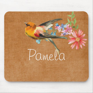 Vintage Watercolor Floral Bird Personalized マウスパッド