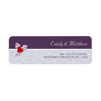 Violet Holly Berries & Leaves Return Address Label ラベル