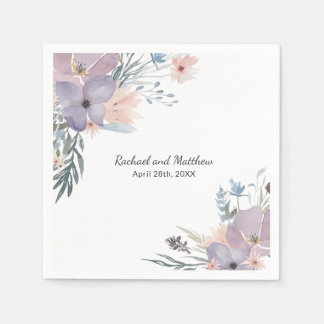 Violet Meadow Floral Wildflowers Wedding スタンダードカクテルナプキン