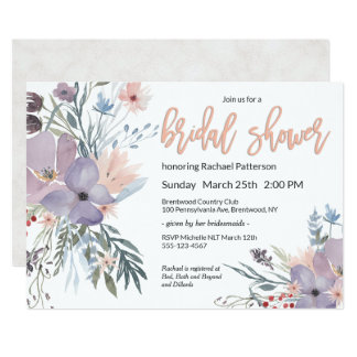 Violet Meadow Watercolor Floral Bridal Shower カード
