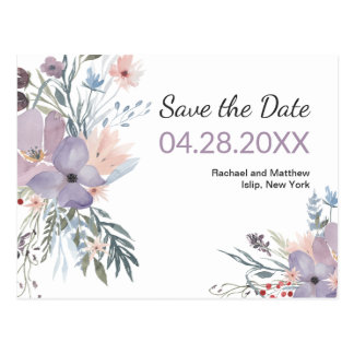 Violet Meadow Watercolor Floral Save the Date ポストカード