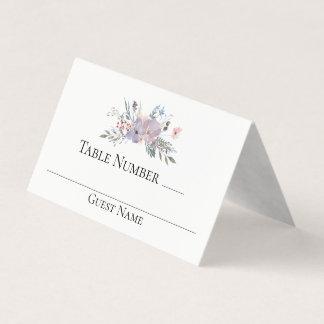 Violet Meadow Watercolor Floral Wedding Table プレイスカード