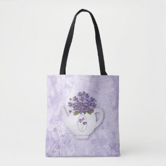 Violet Teapot All Over Print Tote Bag トートバッグ