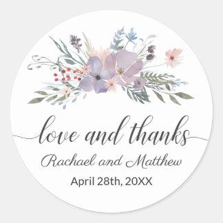 Violet Watercolor Floral Wedding Thank You ラウンドシール
