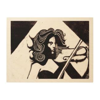 Violinstの音楽愛好者24 x 18木壁の芸術 ウッドウォールアート